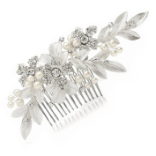 Mariell Designer Bridal Hair Comb with Hand Painted Leaves and Pave Crystals