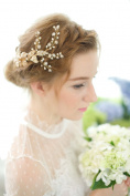 Meiysh Handmade Cyrstal Flower Wedding Hair Comb Clip Headpieces Bridal Party Accessory