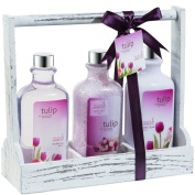 Tulip! Bath and Body Gift Set - shower gel,bath salts,hand cream displayed in distress white wooden three sectional caddy