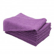 1 Dozen 38cm x 60cm PURPLE Soft Cotton Salon Towels Safe Bleach Chemical Resistant