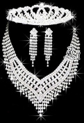 Rhinstone Crystal Wedding Bridal Prom Princess Tiara Crown 5 Necklace Clip Earrings Sets