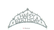 MJ Boutique's Dangling Happy Birthday Crystal Tiara Hair Comb gift for her 64096