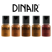 Dinair Airbrush Makeup | 5pc Glamour Foundation Collection Set | DARK Shades