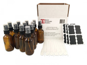(12) 2 Ounce 2 oz Empty Amber Glass Bottles W/black Fine Mist Sparyer (12) 3ml Pipettes (12) Chalk Labels for Essentail Oils, Cleaning Products, Aromatherpy