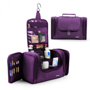 Lavievert Toiletry Bag / Makeup Organiser / Cosmetic Bag / Portable Travel Kit Organiser / Household Storage Pack / Bathroom Storage with Hanging for Business, Vacation, Household - Purple
