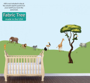 Mini Jungle Animal Wall Decals, Jungle Stickers With Tree, Elephant, Lion, Giraffe, Monkey