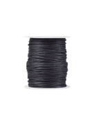 FreshHear Pack of 1 for 80m Waxed Cotton Cord Colour Black Size 1.5x1.5mm