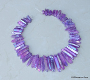 Purple AB Titanium Quartz, Titanium Crystal, Titanium Beads, Titanium Points, Raw Crystal Quartz, Graduated - Full Strand - 20mm - 50mm