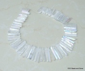 Clear Titanium AB Quartz, Titanium Crystal, Points, Titanium, Raw Rough Natural, Graduated - 15 inch Strand - 20mm - 40mm