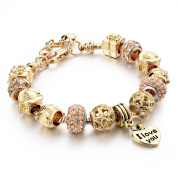 Long Way ® Gold Plated Snake Chain Beads Charm Bracelet for Women