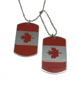 DSRG Edition Military Army Style Black 2 Dog Tags Chain NEW** Men's CASUAL and TRENDY Pendant Necklace w/ CANADIAN FLAG