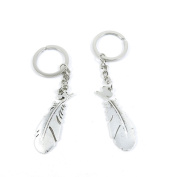 80 Pieces Keyring Keychain Keytag Key Ring Chain Tag Door Car Wholesale Jewellery Making Charms V9BT3 Feather