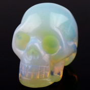 Hand Carved Natural Gemstone Carving Skull Statue Figurine Collectible 4.8cm
