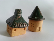 Green Tiny houses Figurine Mini Village Set of 2 Ceramic Unique Shelf Ceramic Wise Home Decorative Collectible Figurine by Rising Clay