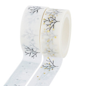 Souarts Mix 2 Rolls Life Tree Printed 15mm Wide Washi Masking Tapes 10m