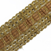 Wholesale 10yards Braided Sequin Gold Metallic Lace Ribbon Motif Trim Applique Tape Lace Venice Sewing Accessories For Costume / Fashion Design T1506