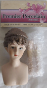 PREMIER Craft 1 SET Porcelain AMI 'LADY' DOLL HEAD 5.1cm - 1cm and PAIR of HANDS Each 5.1cm Long w BROWN Moulded HAIR