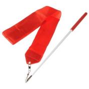 Demarkt 4M Red Dance Ribbon Wand Gym Rhythmic Streamer Twirling Rod Art Gymnastic Ballet