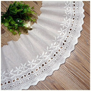 Ivory 3 Yards Fabric Embroidered Cotton Lace Trim Dress Lace Curtain Lace Sewing Lace 15cm Wide