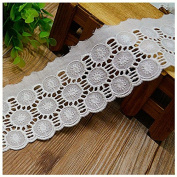 Ivory 5 Yards Hollowed Embroidered Cotton Ribbon Lace Trim Dress Lace Costumes Supplies Sewing Lace 5.8cm Wide