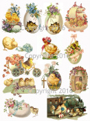 Victorian Easter Chicks and Eggs Collage Sheet #103