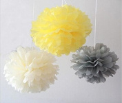 Since ® 12PCS Mixed Ivory Grey Yellow Tissue Pom Poms Paper Flower Wedding Bridal Shower Party Fluffy Decoration SIC-01756