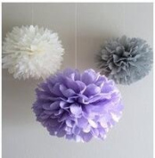 Since ® 12 Mixed White Lavener Grey Party Tissue Pompoms Paper Flower Pom Poms Wedding Birthday Nursery Baby Room Decoration Favour SIC-01753