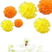Since ® 12pcs Orange & Yellow Tissue Paper Pom Poms Pompoms Paper Flower Balls Mixed Sizes Birthday Baby Shower Party Decoration