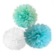 Since ® 12PCS Mixed Mint Blue White Paper Tissue Pompoms Pom Poms Flower Ball Wedding Birthday Party Decoration SIC-01750