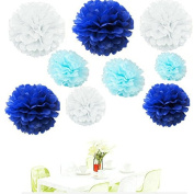 Since ® 18PCS Mixed Royal Blue Aqua Blue White Party Tissue Pom Poms Paper Flower Pompoms Wedding Birthday Party Nursery Decoration