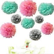 Since ® Set of 18 Mixed Grey Pink Mint Party Tissue Pom Poms Paper Flower Pompoms Wedding Birthday Party Nursery Decoration