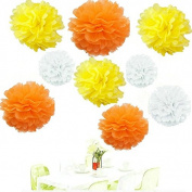 Since ® 18pcs Mixed White Orange Yellow Tissue Papper Pom Poms Pompoms Paper Flower Balls Wedding Birthday Party Decoration
