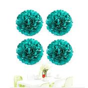 Since® 10pcs 25cm Teal Blue Tissue Paper Pom Poms Pompom Flower Balls Wedding Birthday Party Decoration Festival Supplies
