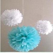 """Since ® 12PCS 10"""" 25cm Mixed Blue & White Colours Tissue Paper Pom Poms Decorative Flowers Wedding Party Decoration SIC-01720"""