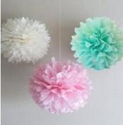 Since ® 12PCS 3 Colours Mixed Mint White Pink Tissue Paper Pompoms Flower Pom Poms Wedding Birthday Party Decoration SIC-01719