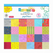 Paperhues Summer Collection 30cm x 30cm Pad, 24 Sheets. Decorative Specialty Handmade Origami Papers for Gift Wrap, Cards, Scrapbooking, Decor, Art and Craft Projects.