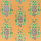 Floral Pineapple - Silver Metallic/Light & Medium Green/Peach