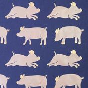Gift Wrap - Pigs - Metallic Gold/Peach/Navy