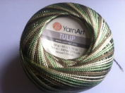 Variegated Green, Brown, Pale Yellow - Yarn Art Tulip Size 10 Microfiber Thread - 50 Gramme