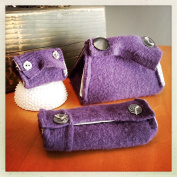 2 little birds design Little Monster Knitting Accessory Pouches Set of Three-Purple Silver