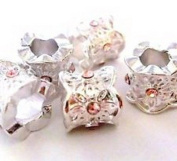 Dan Smatree The Beads 5 European Charm Metal Beads Blue Silver w pink Rhinestones