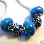 Dan Smatree The Beads 5 pc EUROPEAN CHARM BEAD SET Aqua / Azure Blue