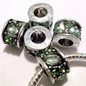 Dan Smatree The Beads Lot of 5 EUROPEAN CHARM Metal Beads Green CZ & Rhinestones design