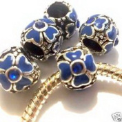 Dan Smatree The Beads Pkg of 5 European Charm Metal Beads Blue Flower Pattern
