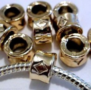 Dan Smatree The Beads 10 pc Lot EUROPEAN CHARM Gold Plated Metal Beads N66 Large Core