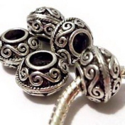 Dan Smatree The Beads Lot of 5 EUROPEAN CHARM BEADS Bali Scroll Antique Silver