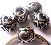 Dan Smatree The Beads Pkg of 5 European Charm Metal Beads Heart design