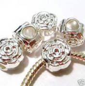 Dan Smatree The Beads Lot of 5 European Charm Metal Beads Silver Rose