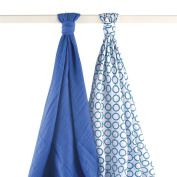 Yoga Sprout Muslin Swaddle Blankets, Blue Dog, 2 Count
