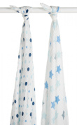 Blisscosy Silky Soft Classic Large Muslin Swaddle Blanket, 2 count 120cm x 120cm , Gift Box Set - 2 Pack A6A002 Assorted Blue